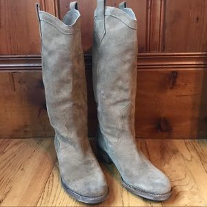 Sam Edelman Suede Tall Riding Boots Brown Tan